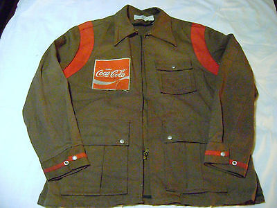 Vintage 1960's Used Coca Cola Delivery Employee Brown Zippered Jacket
