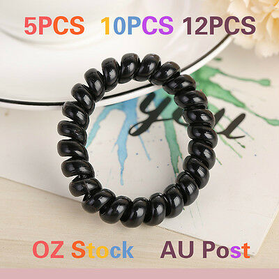 Elastic Telephone Wire Cord Head Ties Hair Band Rope Black Hairband Waterproof