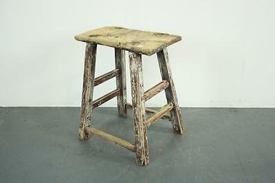 VINTAGE RUSTIC ANTIQUE WOODEN STOOL MILKING EXTRA LARGE No L149