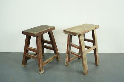 PAIR OF VINTAGE RUSTIC ANTIQUE WOODEN STOOLS MILKING LARGE P38b