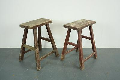 Pair Of Vintage Rustic Antique Wooden Stools Milking Large P39