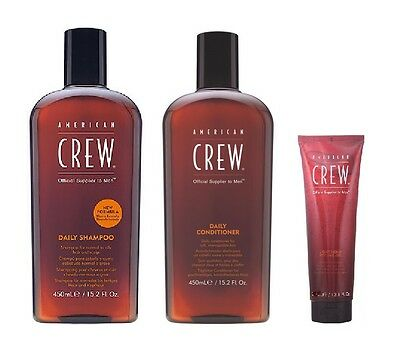 American Crew Daily Shampooing 450ml, Conditioner 450ml et Light Hold Gel 250ml