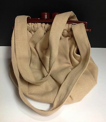 VINTAGE Tan Fabric Purse With Lucite Brown Frame/Knobbed Closure-1950's