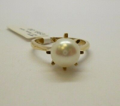 9ct yellow gold synthetic pearl engagement dress cocktail ring hallmarked
