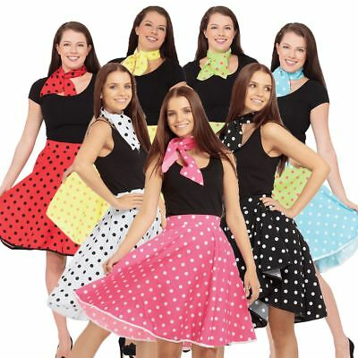 Adult Rock n Roll Skirt Scarf Fancy Dress 50s Grease Ladies Polka Dot Outfit New