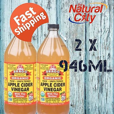 Bragg Apple Cider Vinegar 946ml x 2 with Mother- FREE SHIPPING