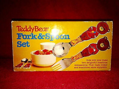 Baby Teddy Bear Easy Grasp First Fork & Spoon Set Stainless Steel