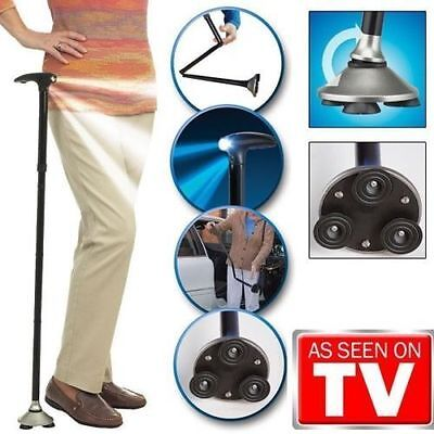 Trusty Cane LED Folding, Walking,Triple Head Pivot Base Hurry As Seen on TV MG