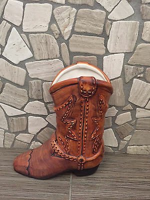 Ceramic Cowboy Cowgirl Boot Planter Vase For Plant Or Flowers