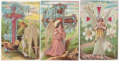 GORGEOUS  Postcard SET of 3 - Embossed Easter Angels Silver Gold Cross 1910 lot