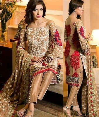 pakistani designer embroidered chiffon suit kameez shalwar custom stitched