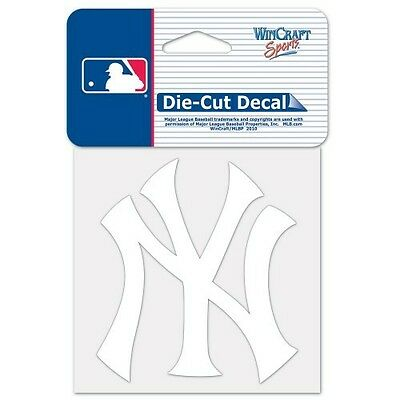 "New York Yankees White Vinyl Perfect Cut Decal 4""x4"" For Windows Or Laptops"