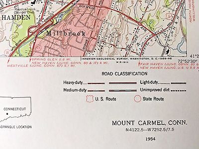 MOUNT CARMEL CT 1954 TOPOGRAPHICAL MAP United States Geological Survey Hamden CT