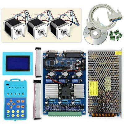 New CNC Standard 3Axis TB6560 Stepper Driver Full Kit & Motor/PSU/Keypad/Display