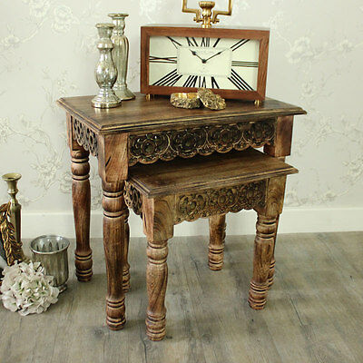 Set of 2 mango wood ornate carved nested tables shabby vintage chic furniture