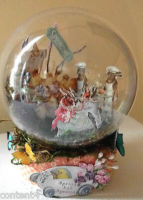 altered art mixed media handcrafted springtime globe bunnies chicks easter