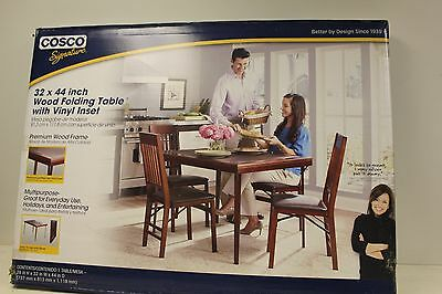 Cosco 32-inch x 44-inch Wood Folding Table With Vinyl Inset New