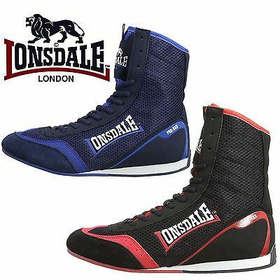 Lonsdale Mitchum SE Boxing Boots Trainers Retro Retro Black Red Blue Shoes