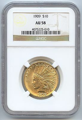 1909 $10 Gold Indian (#6967) NGC AU58. Whisper from Unc. With Bold Luster. Caref