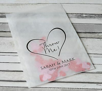10 x Personalised Confetti bags - heart design throw me