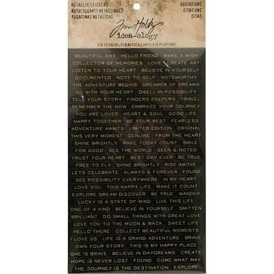 Tim Holtz Idea-Ology - Metallic Stickers - Quotations - 4 Sheets
