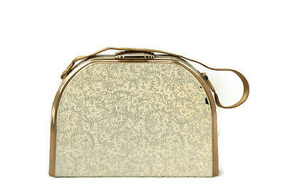 Vintage Stratton Minaudiere Evening Bag Gold Tone Floral Enamel Missing Compact