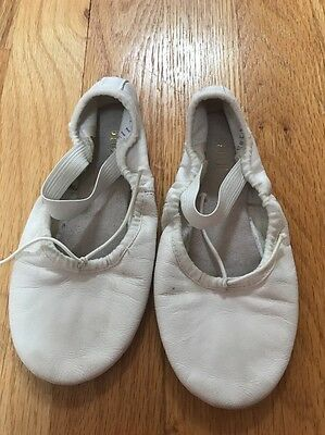 Bloch girls BALLET SHOES soft slip sole 11 1/2 B leather dance slippers White