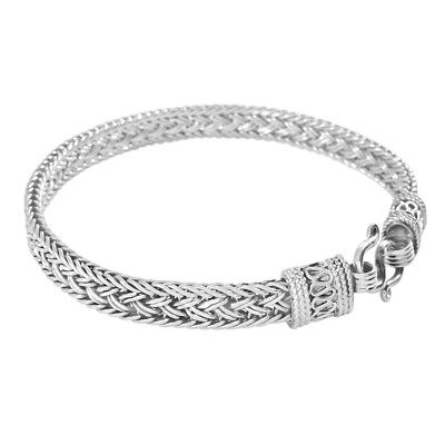 Sterling Silver Rope Link Chain Men's Bracelet. Handmade & Genuine 925 Stamped.