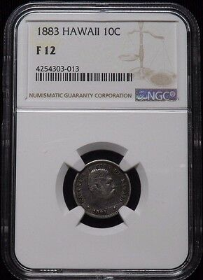 1883 Hawaii 10 Cent Coin Certified NGC F 12