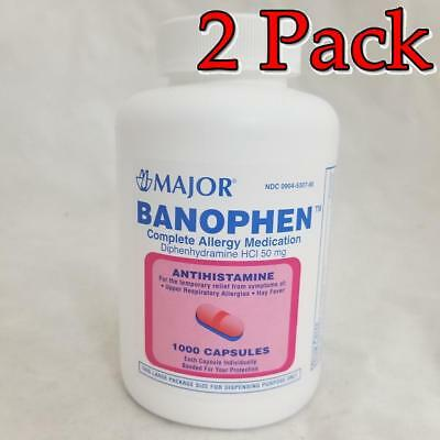 Major Banophen Diphenhydramine Capsules, 50mg, 1000ct, 2 Pack 309045307809A1344