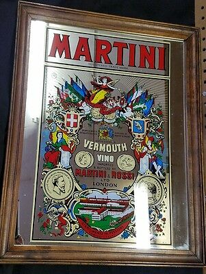Vintage MARTINI TIME 20x16 Large Multi Color Bar Mirror Hand Made In England