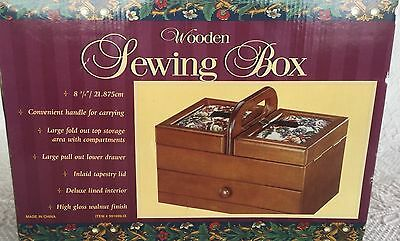 """ Wooden Sewing Box New In Box Fold Out & Drawer Storage Walnut Finish, Tapestry"