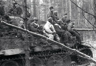 WWII B&W Photo German Fallschirmjager Soldiers on Tiger Tank   WW2 / 2351