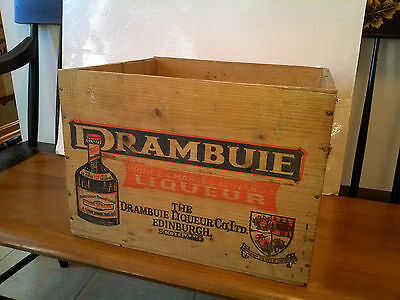 "VTG DRAMBUIE LIQUEUR Wood Crate SCOTLAND Scotch Whisky 14 1/2"" X 10 1/2"" X 13"""