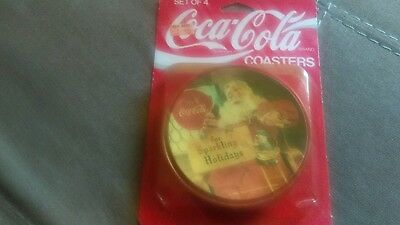 """Vintage Coca Cola Set of 6, 3 3/4"""" Christmas Coasters New in Package"""