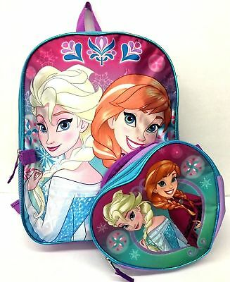 Disney Girls Frozen Elsa and Anna Backpack with Detachable Lunch Box Combo Set