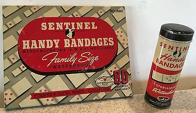 2 Vintage Sentinel Handy Bandages First Aid Advertising Tin Metal Container
