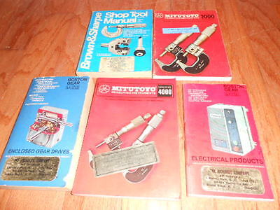Vintage Lot of 5 Machinist Manuals/Catalogs-Brown & Sharpe,Mitutoyo,Boston Gear