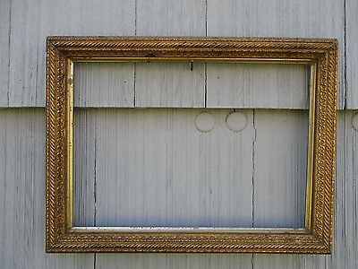 Antique 19thC Gilt Wood Picture Frame w/Glass fits 9-3/4 x 13-3/4