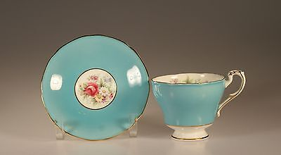 Paragon Turquoise with Pink Roses Footed Cup and Saucer,#7969/6  England c. 1939