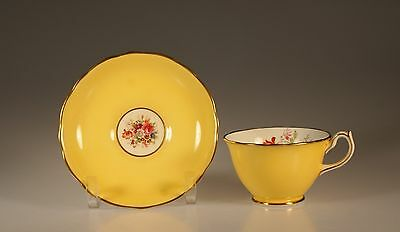 Hammersley Yellow with Floral Spray Cup and Saucer, Doris Shape, Made In England
