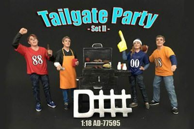 Four Figure Tailgate and Barbeque Set, American Diorama 77595 1/18 Scale Figures