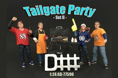 Four Figure Tailgate and Barbeque Set, American Diorama 77596 1/24 Scale Figures