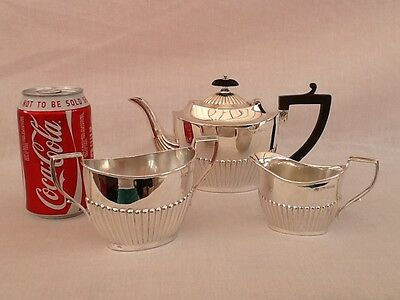Antique Solid Silver Bachelor's 3 piece tea set Sheffield 1898/99