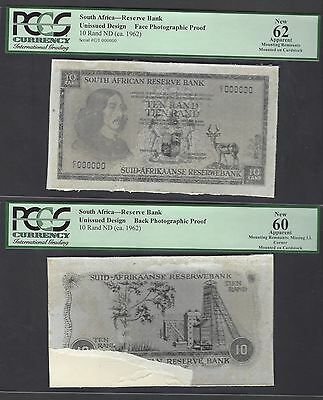 South Africa Obverse & Reverse Unissued Design 10 Rand ND 1962 Uncirculated