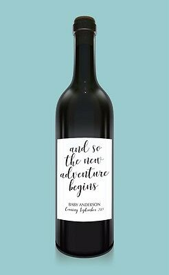 Pregnancy Announcement Custom Wine Labels Sold in Set of Four