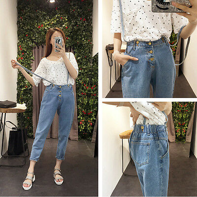 Vintage Womens Washed Jeans Denim Casual Loose Overalls Suspender Pants Trousers