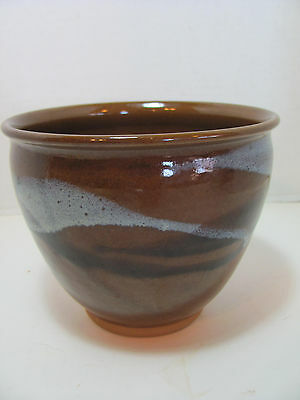 Vintage Brown W/sky Blue Swirled Pottery Bowl
