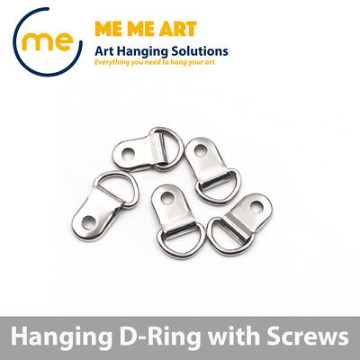2/10/20/50/100 D-Ring Painting Picture Frame Hanger Hanging Hooks+Screw