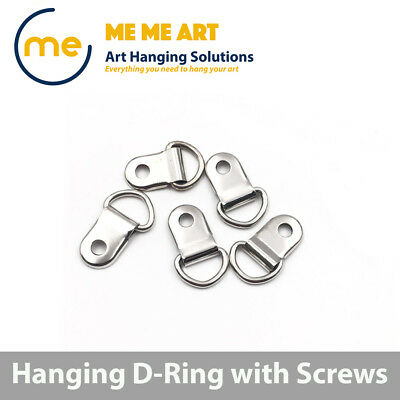 20/50/100 D-Ring Painting Picture Frame Hanger Hanging Hooks+Screw